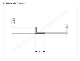 Angolare zincato 70x7 in barre da 3 metri