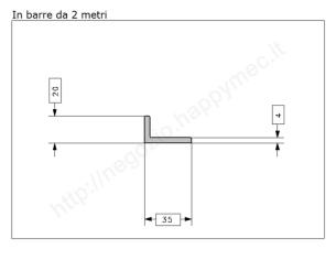 Angolare zincato 80x8 in barre da 3 metri