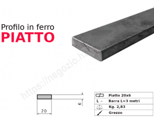 Tubo rettangolare grezzo 20x10x1,5 in barre da 2 metri