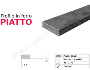 Tubo rettangolare grezzo 20x15x1,5 in barre da 2 metri