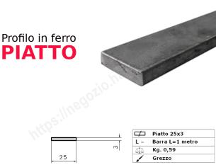 Tubo rettangolare grezzo 25x15x1,5 in barre da 3 metri