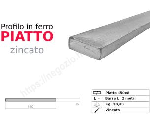 Tubo quadro zincato 40x2 in barre da 3 metri*