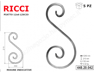 "Lettera minuscola ""k"" stile saltino misura 200 in ferro battuto"