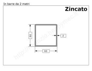 Tubo quadro grezzo 100x3 in barre da 1 metro