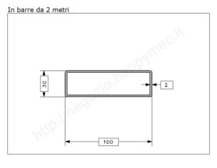 Tubo quadro grezzo 30x1,5 in barre da 1 metro
