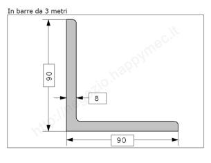 Profilo piatto grezzo 12x 4 in barre da 1 metro