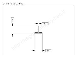 Angolare grezzo 25x3 in barre da 3 metri